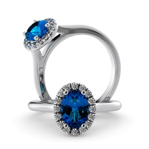 5979 - Oval BlueTopaz Oval Diamond Ring With Halo Setting