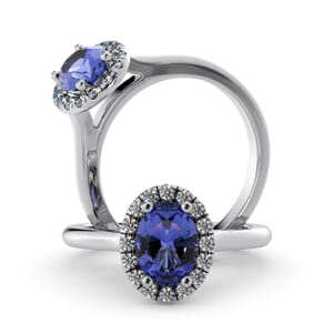 5985 - Oval Tanzanite Oval Diamond Ring With Halo Setting