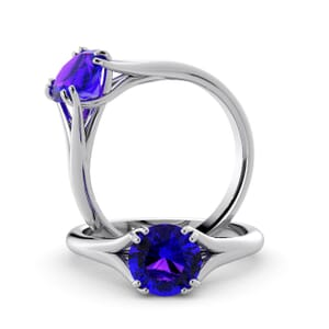 6003 - Round Amethyst Solitaire Diamond Ring