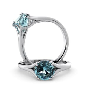 6009 - Round Aquamarine Solitaire Diamond Ring