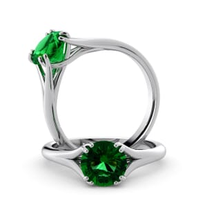 6021 - Round Emerald Solitaire Diamond Ring