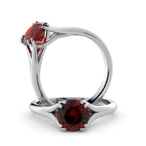 6027 - Round Ruby Solitaire Diamond Ring