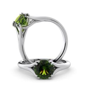6033 - Round Peridot Solitaire Diamond Ring