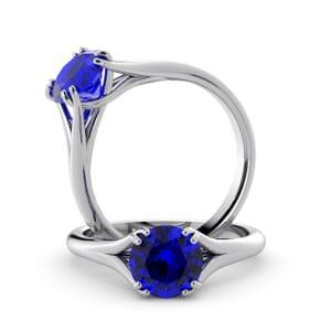 6039 - Round Sapphire Solitaire Diamond Ring