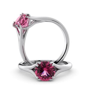 6045 - Round Tourmaline Solitaire Diamond Ring