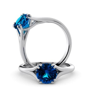 6051 - Round BlueTopaz Solitaire Diamond Ring