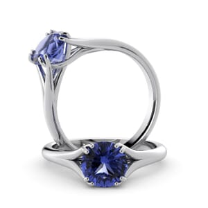 6057 - Round Tanzanite Solitaire Diamond Ring