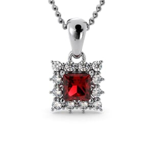 6141 - Princess Granet Square Pendant With Diamonds