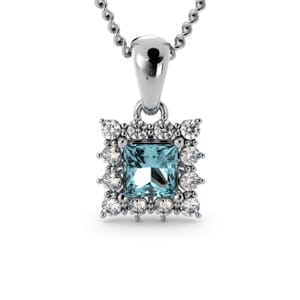 6153 - Princess Aquamarine Square Pendant With Diamonds