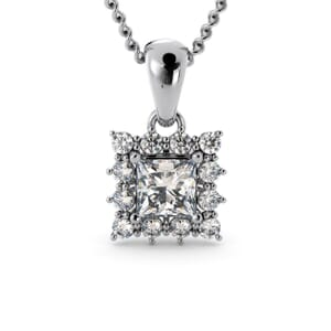 6159 - Princess Diamond Square Pendant With Diamonds