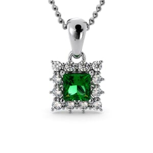 6165 - Princess Emerald Square Pendant With Diamonds