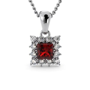 6171 - Princess Ruby Square Pendant With Diamonds
