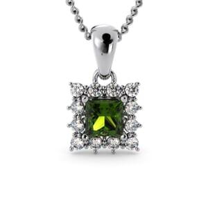 6177 - Princess Peridot Square Pendant With Diamonds