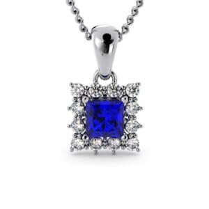 6183 - Princess Sapphire Square Pendant With Diamonds