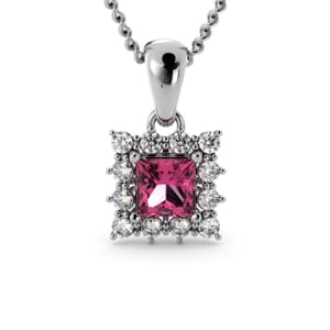 6189 - Princess Tourmaline Square Pendant With Diamonds