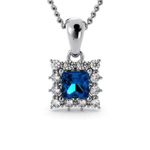 6195 - Princess BlueTopaz Square Pendant With Diamonds
