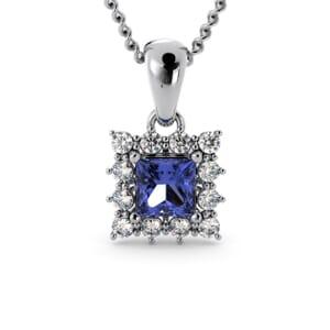 6201 - Princess Tanzanite Square Pendant With Diamonds