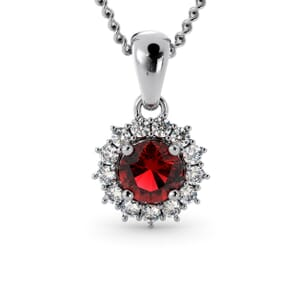 6213 - Round Granet Round Pendant With Diamonds