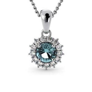 6225 - Round Aquamarine Round Pendant With Diamonds