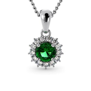 6237 - Round Emerald Round Pendant With Diamonds