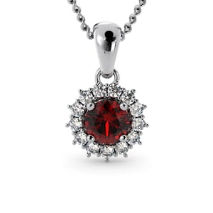 6243 - Round Ruby Round Pendant With Diamonds