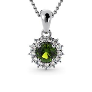 6249 - Round Peridot Round Pendant With Diamonds