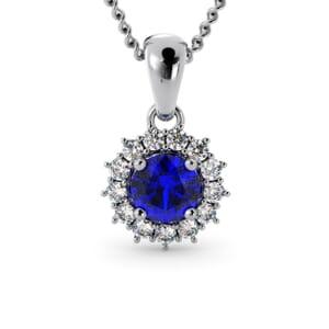 6255 - Round Sapphire Round Pendant With Diamonds