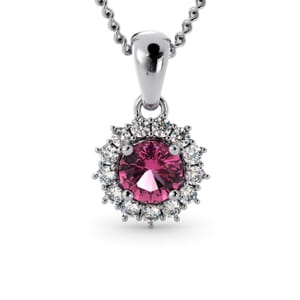 6261 - Round Tourmaline Round Pendant With Diamonds