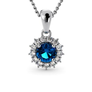 6267 - Round BlueTopaz Round Pendant With Diamonds