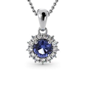 6273 - Round Tanzanite Round Pendant With Diamonds