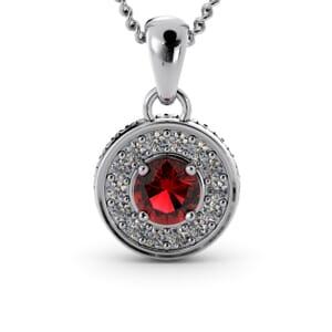 6285 - Round Granet Round Diamond Pendant