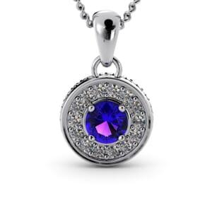 6291 - Round Amethyst Round Diamond Pendant