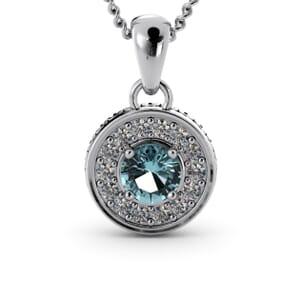 6297 - Round Aquamarine Round Diamond Pendant