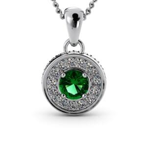 6309 - Round Emerald Round Diamond Pendant