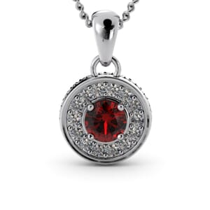 6315 - Round Ruby Round Diamond Pendant