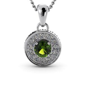 6321 - Round Peridot Round Diamond Pendant