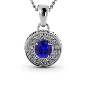 6327 - Round Sapphire Round Diamond Pendant