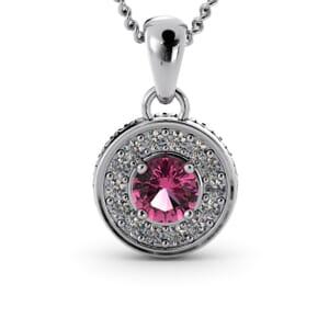 6333 - Round Tourmaline Round Diamond Pendant