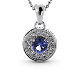 6345 - Round Tanzanite Round Diamond Pendant