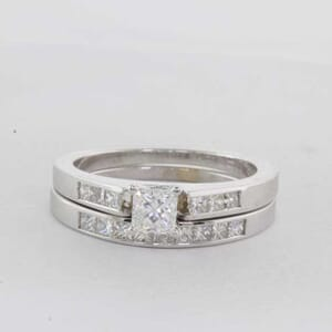 6356 - Princess Cut Matching Wedder and Engagement Rings