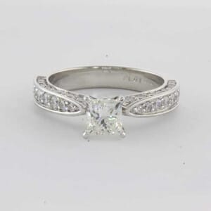 6361 - 1.60 Carat Diamond Engagement Ring With Princess Cut