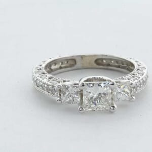 6362 - Art Deco Diamond Engagement Ring set with Round and Princess