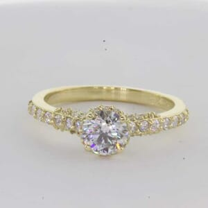 6393 - French set pave diamond engagement ring