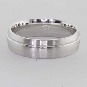 6404 - 6mm, brushed wedding ring with polished groove
