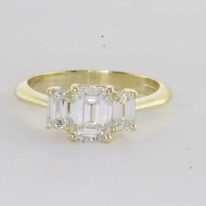 6410 - Three Stones Emerald Engagement Ring