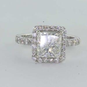 6417 - square bezel halo diamond engagement ring