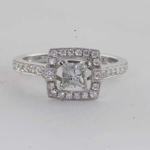 6419 - Sqaure Open Halo Princess Cut Ring