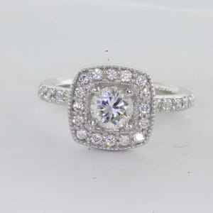 6420 - 1.11 Carat Square Vintage Halo with Fine Milgrain