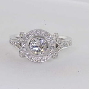 6422 - Bezel Halo Engagement Ring With Milgrain Channel Set