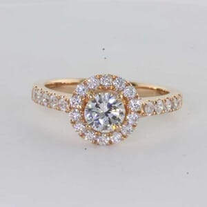 6423 - Fancy Halo Diamond Engagement Ring with Side Diamonds